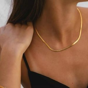Herringbone snake chain 18k gold plated necklace